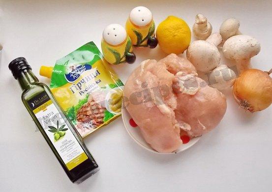 ингредиенты для куриных шашлычков с шампиньонами