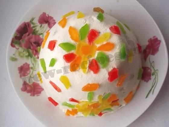 украшаем творожную пасху цукатами или мармеладом
