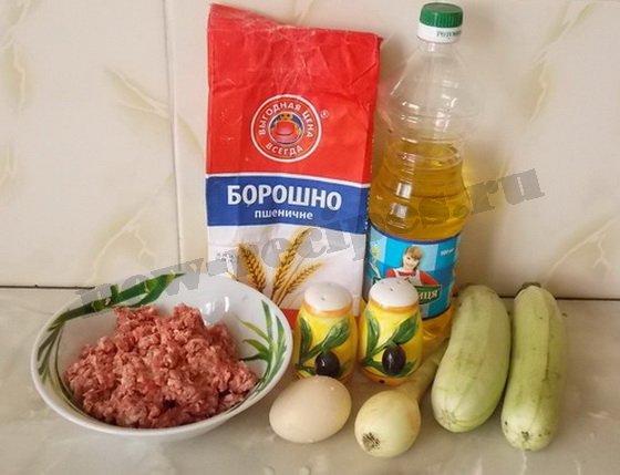 ингредиенты для котлеты с кабачками и фаршем