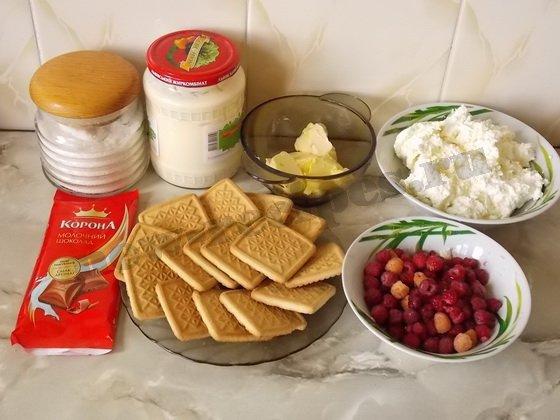 ингредиенты для творожного чизкейка с малиной