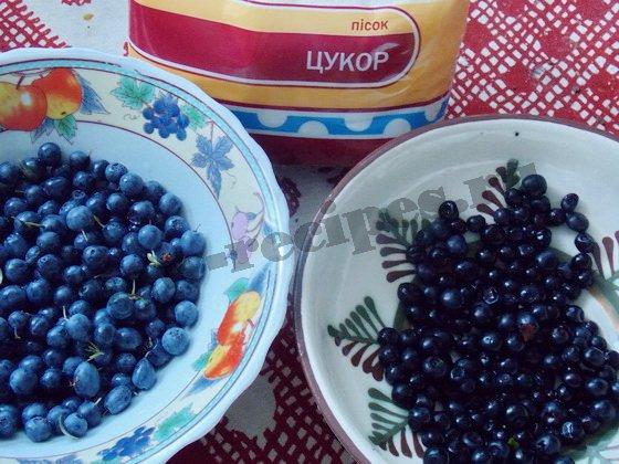 ингредиенты для варенья из черники и голубики