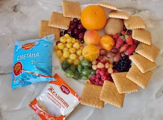 ингредиенты для десерта сметана желатин фрукты