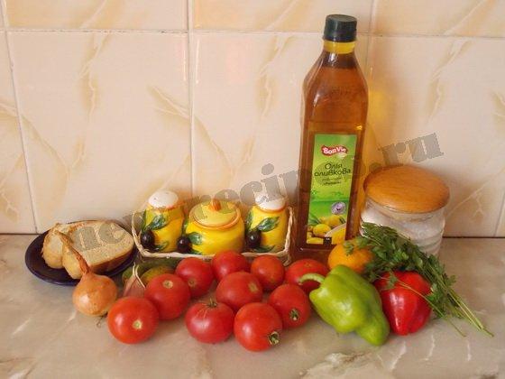 ингредиенты для гаспачо из помидоров