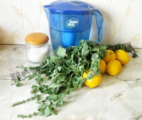 ингредиенты для лимонного лимонада с мятой