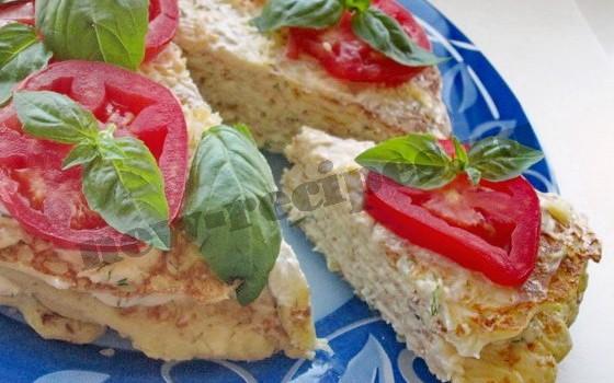 закусочный торт из кабачковых блинчиков