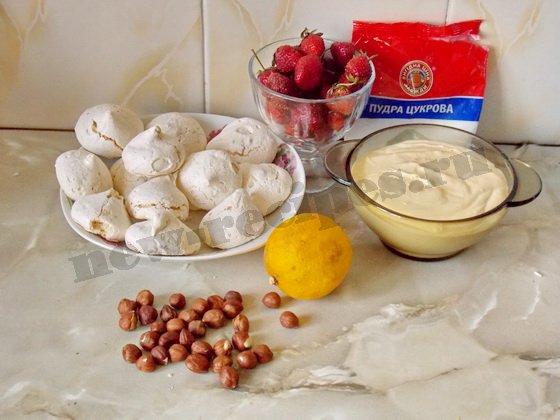 ингредиенты для десерта из безе со сливками