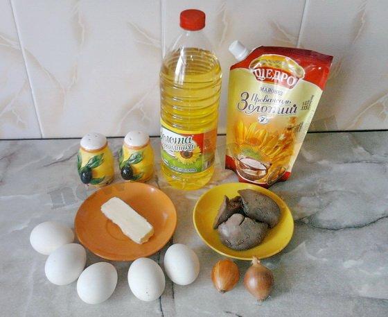 ингредиенты для яиц фаршированных печенью