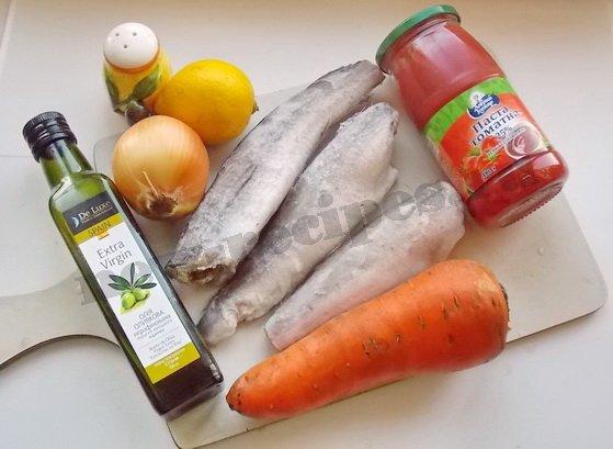ингредиенты для рыбы с овощами