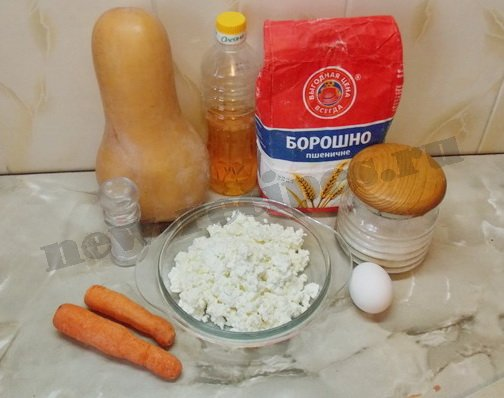 ингредиенты для сырников с тыквой и морковкой