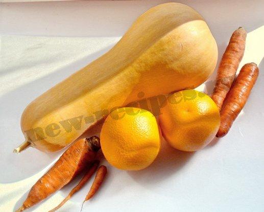 ингредиенты для сока из тыквы, морковки, апельсина