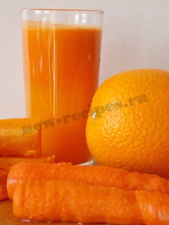 тыквенный сок с морковкой и апельсином готов