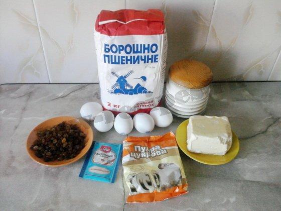 ингредиенты для ванильных кексов с изюмом
