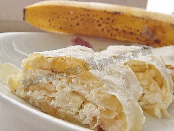 быстрый десерт лаваш творог банан