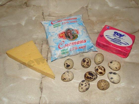ингредиенты для фаршированных перепелиных яиц