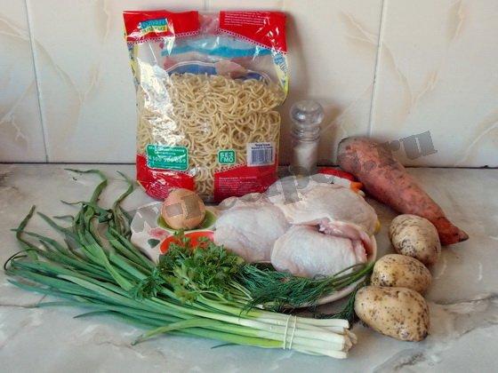 ингредиенты для куриного супа с макаронами