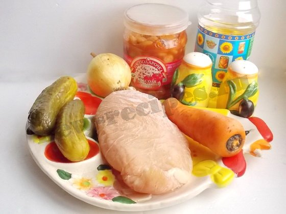 ингредиенты для салата фасоль курица морковка огурец