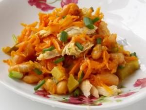 салат фасоль курица морковка огурец