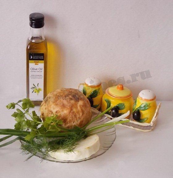 ингредиенты для салата из корня сельдерея