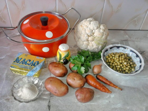 ингредиенты для овощного супа с горошком и цветной капустой