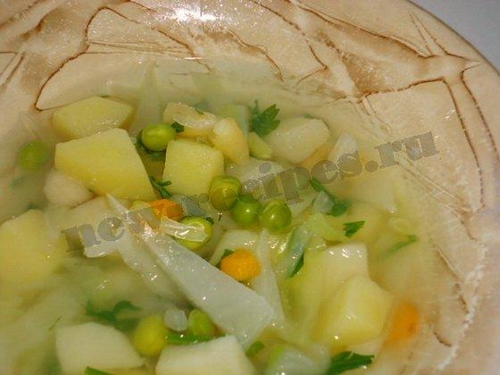 суп овощной с зелёным горошком