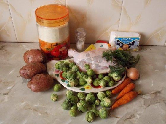 ингредиенты для супа с брюссельской капустой