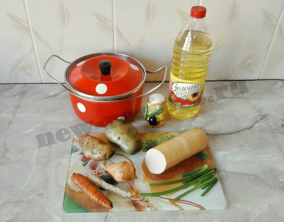 ингредиенты для супа с варёной колбасой