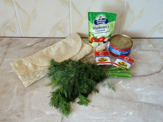 ингредиенты для лаваша с сардиной