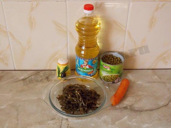 ингредиенты для салата с морской капустой без майонеза