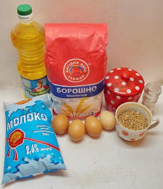 ингредиенты для пшенично-гречневых блинчиков