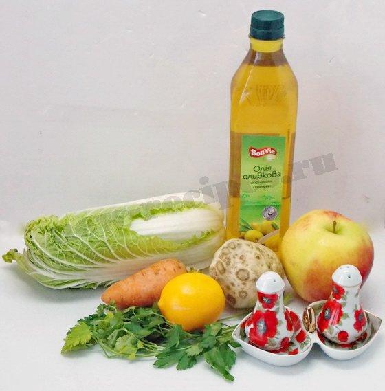 ингредиенты для салата с пекинской капустой и яблоком
