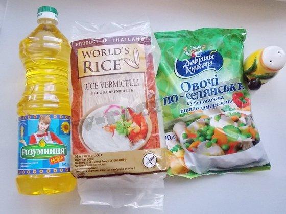 ингредиенты для рисовой вермишели с овощной смесью