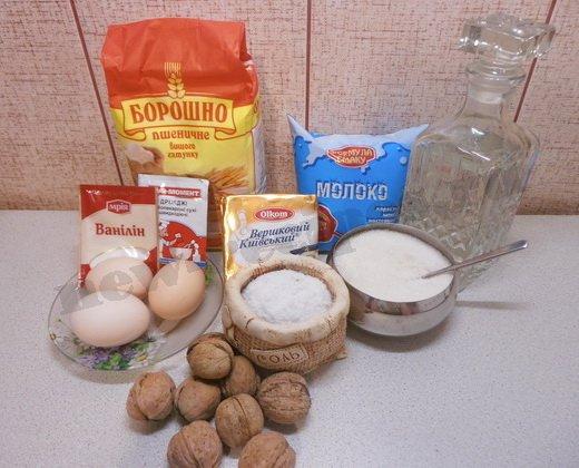 ингредиенты для рулета с орехами
