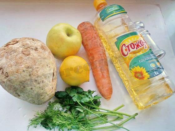 ингредиенты для салата сельдерей яблоко морковь