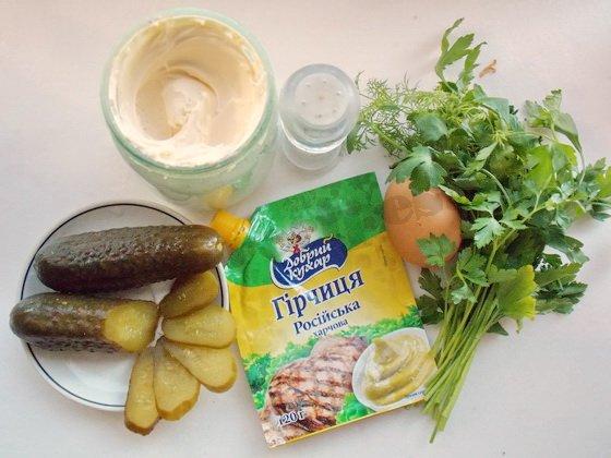 ингредиенты для соуса тартар с солёными огурцами