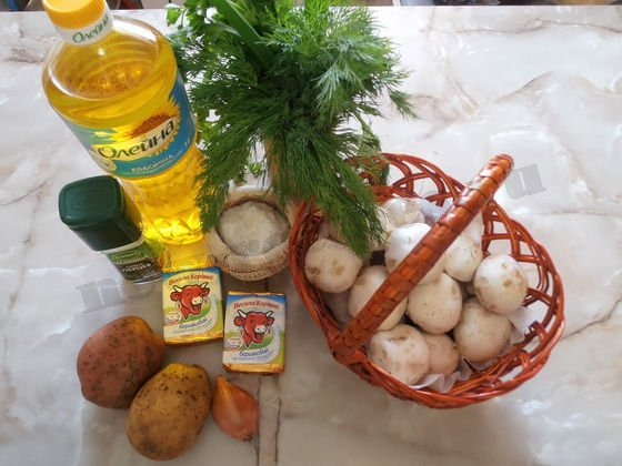 ингредиенты для сырно-грибного супа