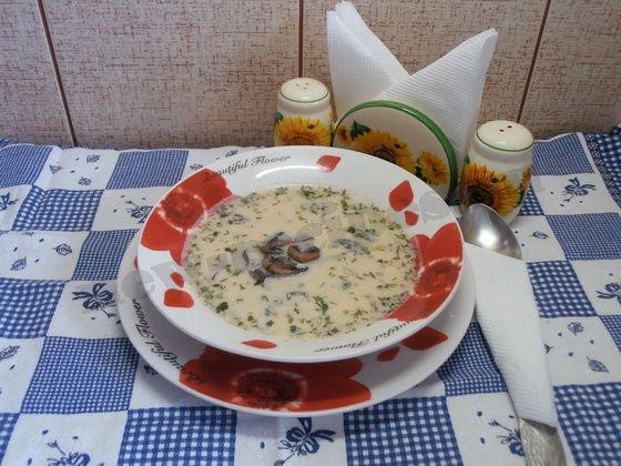 суп с грибами и плавлеными сырками