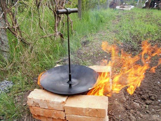 сковорода из диска от тракторного плуга