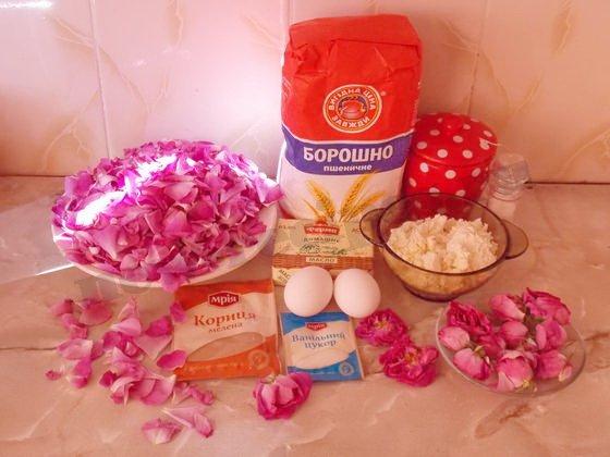 ингредиенты для рулета с чайной розой