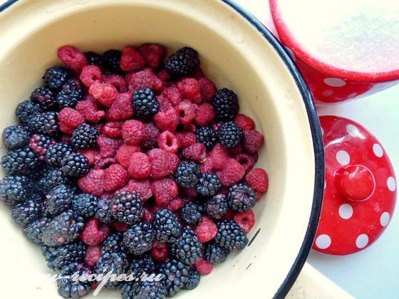 ингредиенты для компот из малины и ежевики