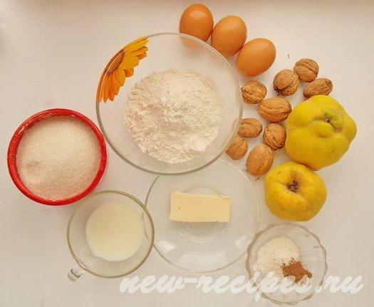 ингредиенты для пирога с айвой, маком и грецкими орехами