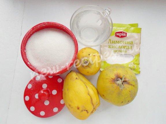 ингредиенты для цукатов из айвы