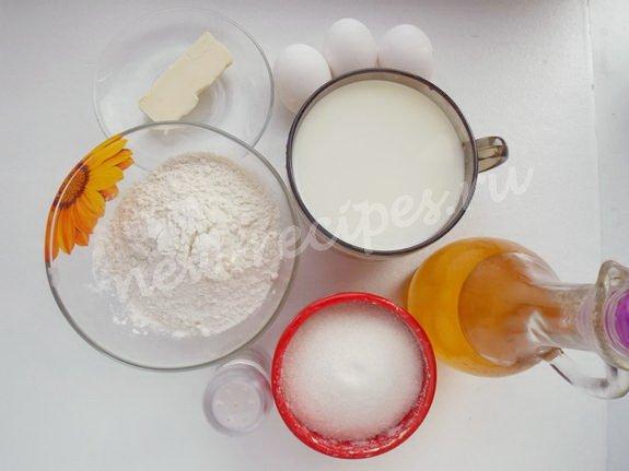 ингредиенты для бархатных блинчиков