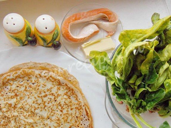 ингредиенты для блинчиков с красной рыбой и шпинатом