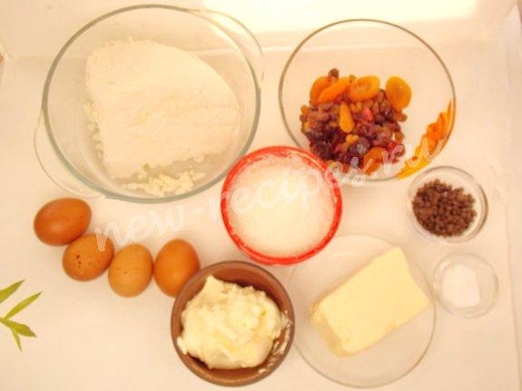ингредиенты для творожной пасхи на отварных желтках