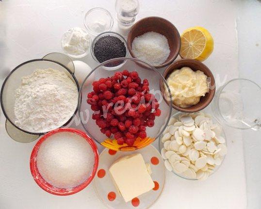 ингредиенты для песочного малинового тарта с шоколадом и маком