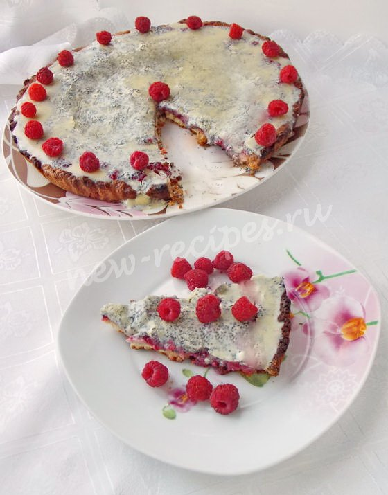 малиновый тарт с белым шоколадом и маком