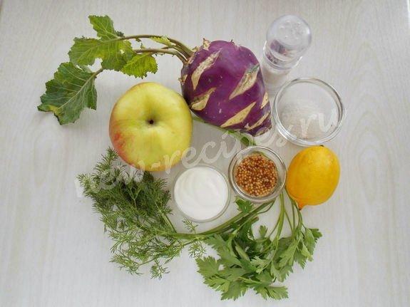 ингредиенты для салата с кольраби и яблоком