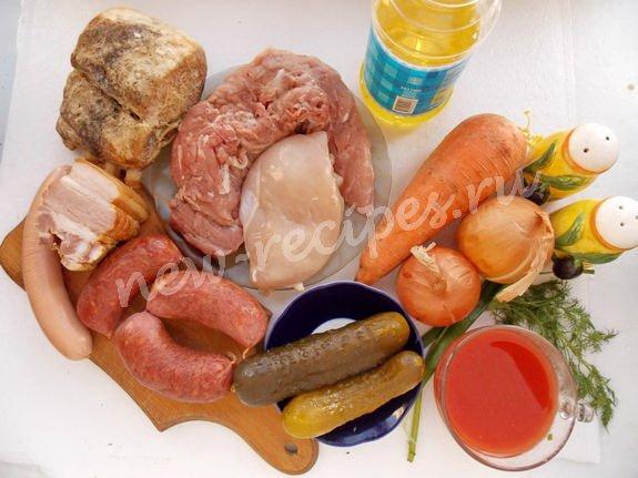 ингредиенты для сборной мясной солянки