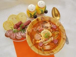 Рецепт вкусной мясной солянки