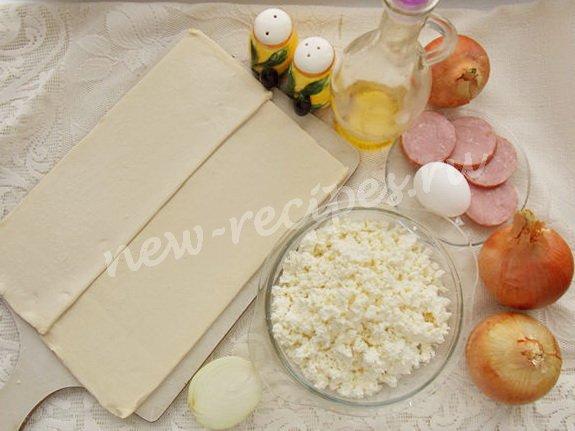 ингредиенты для слоёного пирога с луком